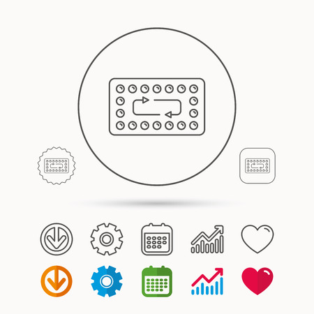 hormonal: Contraception pills icon. Pharmacology drugs sign. Calendar, Graph chart and Cogwheel signs. Download and Heart love linear web icons. Vector
