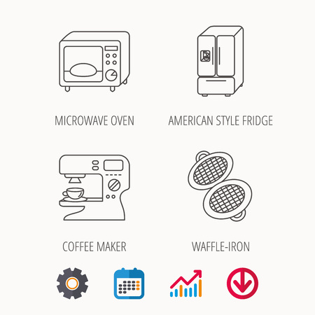 prepare: Microwave oven, waffle-iron and American style fridge icons. Coffee maker linear sign. Calendar, Graph chart and Cogwheel signs. Download colored web icon. Vector