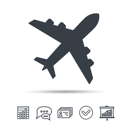 Plane icon. Flight transport symbol. Chat speech bubble, chart and presentation signs. Contacts and tick web icons. Vector Illustration