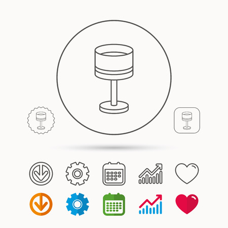 spotlight: Table lamp icon. Desk light sign. Calendar, Graph chart and Cogwheel signs. Download and Heart love linear web icons. Vector