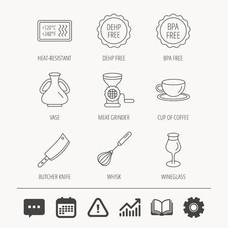 Coffee cup, butcher knife and wineglass icons. Meat grinder, whisk and vase linear signs. Heat-resistant, DEHP and BPA free icons. Education book, Graph chart and Chat signs. Vector Illustration