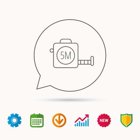scale: Tape measurement icon. Roll ruler sign. Calendar, Graph chart and Cogwheel signs. Download and Shield web icons. Vector