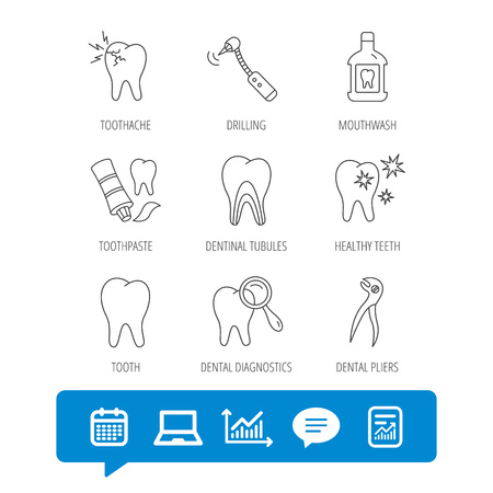 Tooth, stomatology and toothache icons. Mouthwash, dental pliers and diagnostics linear signs. Dentinal tubules, drilling icons. Report file, Graph chart and Chat speech bubble signs. Vector