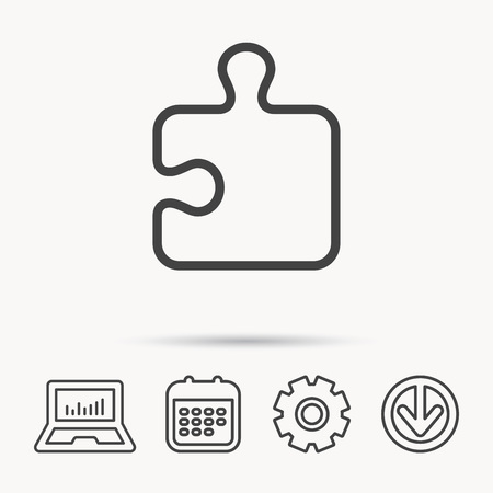 logical: Puzzle icon. Jigsaw logical game sign. Boardgame piece symbol. Notebook, Calendar and Cogwheel signs. Download arrow web icon. Vector
