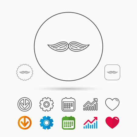 Mustache icon. Hipster symbol. Gentleman sign. Calendar, Graph chart and Cogwheel signs. Download and Heart love linear web icons. Vector