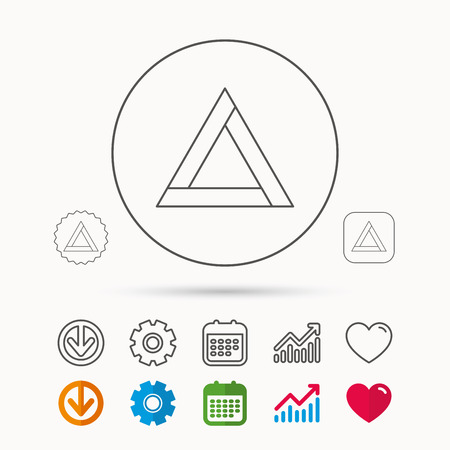 beware: Emergency sign icon. Caution triangle sign. Calendar, Graph chart and Cogwheel signs. Download and Heart love linear web icons. Vector