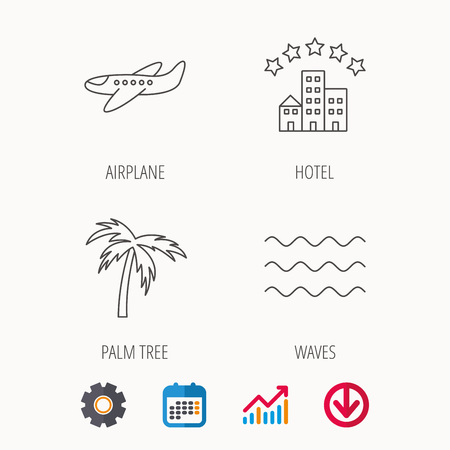 five star: Airplane, waves and palm tree icons. Hotel linear sign. Calendar, Graph chart and Cogwheel signs. Download colored web icon. Vector