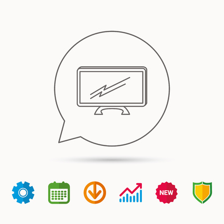 lcd tv: Lcd tv icon. Led monitor sign. Widescreen display symbol. Calendar, Graph chart and Cogwheel signs. Download and Shield web icons. Vector