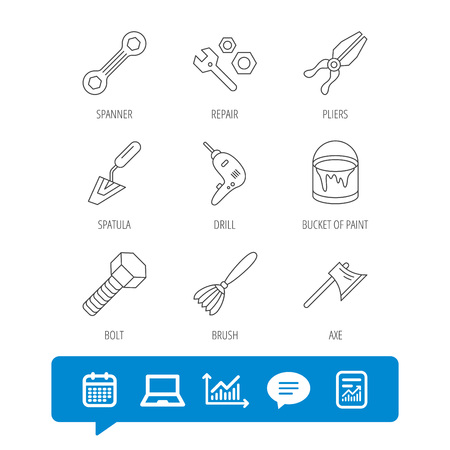 Spanner repair tool, spatula and bolt icons. Bucket of paint, axe and brush linear signs. Drill, pliers flat line icons. Report file, Graph chart and Chat speech bubble signs. Vector