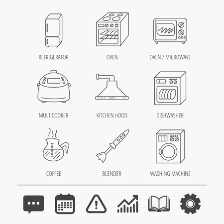 refrigerator: Microwave oven, washing machine and blender icons. Refrigerator fridge, dishwasher and multicooker linear signs. Coffee icon. Education book, Graph chart and Chat signs. Vector Illustration