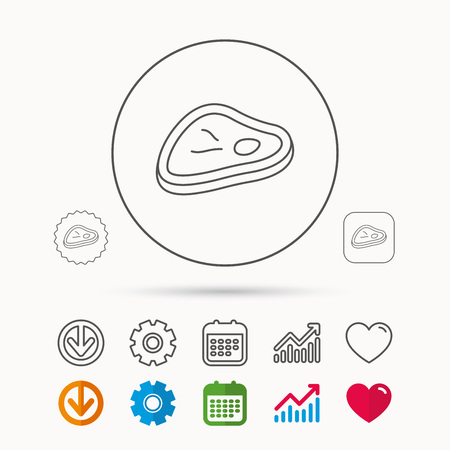 prepare: Meat icon. Beef steak sign. Barbecue meat slice symbol. Calendar, Graph chart and Cogwheel signs. Download and Heart love linear web icons. Vector Illustration