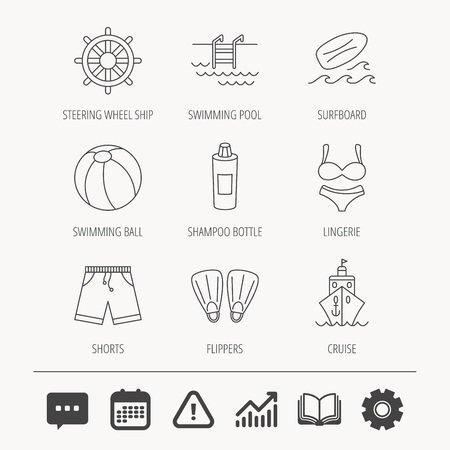 flippers: Surfboard, swimming pool and trunks icons. Beach ball, lingerie and shorts linear signs. Flippers, cruise ship and shampoo icons. Education book, Graph chart and Chat signs. Vector