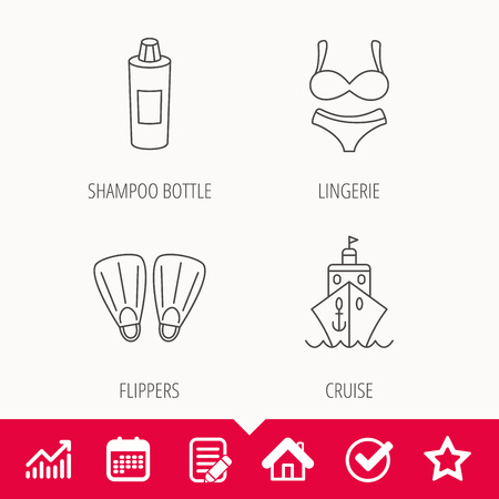 diving board: Cruise, swimming flippers and lingerie icons. Shampoo bottle linear sign. Edit document, Calendar and Graph chart signs. Star, Check and House web icons. Vector