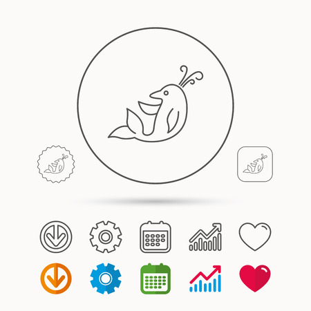 Dolphin icon. Cetacean mammal sign. Delphinidae with fountain symbol. Calendar, Graph chart and Cogwheel signs. Download and Heart love linear web icons. Vector