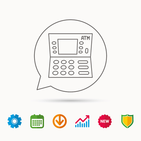 creditcard: ATM icon. Automatic cash withdrawal sign. Calendar, Graph chart and Cogwheel signs. Download and Shield web icons. Vector