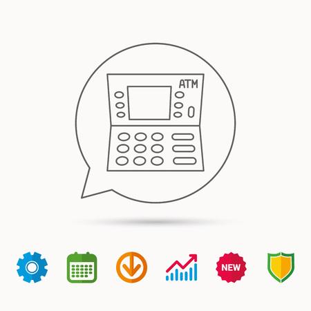 ATM-pictogram. Automatisch teken voor geldopname. Kalender-, grafiek- en tandradborden. Webpictogrammen downloaden en beveiligen. Vector