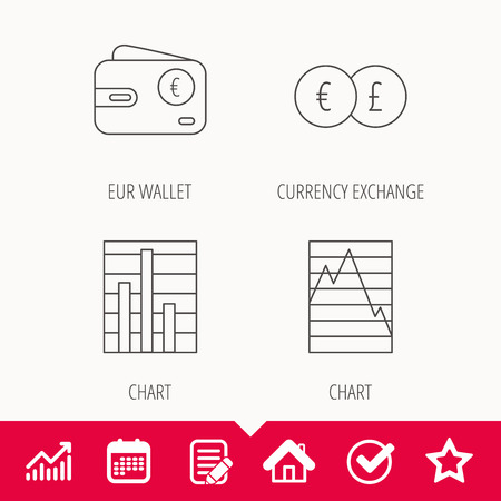 deceleration: Currency exchange, chart and euro wallet icons. Statistics graph linear signs. Edit document, Calendar and Graph chart signs. Star, Check and House web icons. Vector