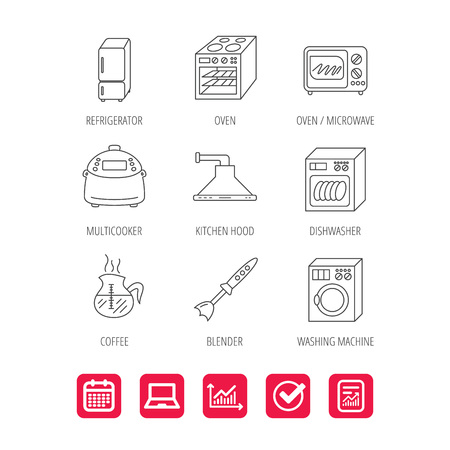 Microwave oven, washing machine and blender icons. Refrigerator fridge, dishwasher and multicooker linear signs. Coffee icon. Report document, Graph chart and Calendar signs. Vector