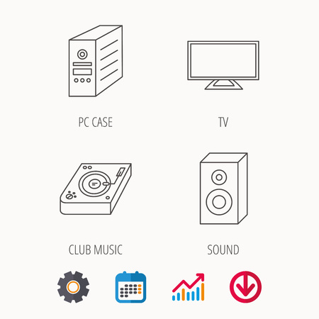 electronic music: Sound, club music and pc case icons. TV linear sign. Calendar, Graph chart and Cogwheel signs. Download colored web icon. Vector Illustration