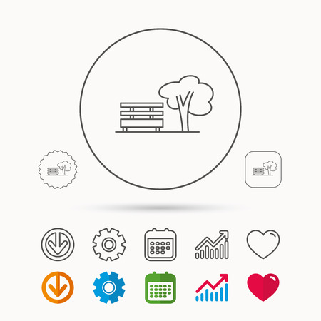 tree logo: Public park icon. Tree with bench sign. Calendar, Graph chart and Cogwheel signs. Download and Heart love linear web icons. Vector