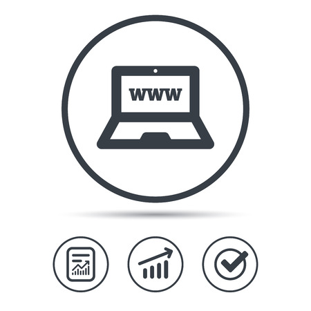 touchpad: Computer icon. Notebook or laptop pc symbol. Report document, Graph chart and Check signs. Circle web buttons. Vector