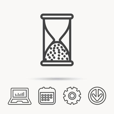 icono de arena. signo de tiempo de arena. símbolos de la salida del tiempo. calendario de calendario y la flecha. icono de la casilla de verificación. web arriba . vector Ilustración de vector