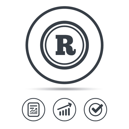 Registered trademark icon. Intellectual work protection symbol. Report document, Graph chart and Check signs. Circle web buttons. Vector Vektorové ilustrace