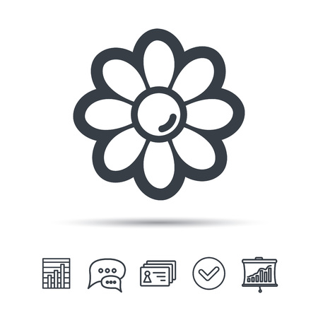 Flower icon. Florist plant with petals symbol. Chat speech bubble, chart and presentation signs. Contacts and tick web icons. Vector