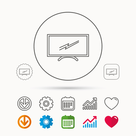 lcd tv: Lcd tv icon. Led monitor sign. Widescreen display symbol. Calendar, Graph chart and Cogwheel signs. Download and Heart love linear web icons. Vector Illustration