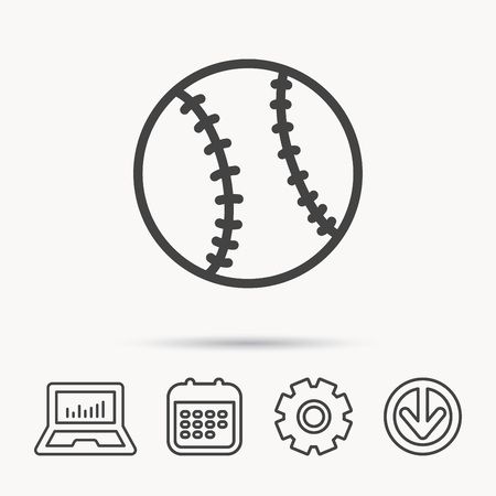 Baseball Equipment Icon Sport Ball Sign Team Game Symbol Notebook