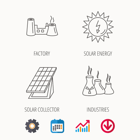 Solar collector energy, factory and industries icons. Solar energy linear signs. Calendar, Graph chart and Cogwheel signs. Download colored web icon. Vector