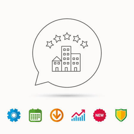 five star: Hotel icon. Five stars service sign. Luxury resort symbol. Calendar, Graph chart and Cogwheel signs. Download and Shield web icons. Vector