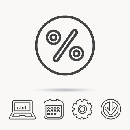 Discount percent icon. Sale sign. Special offer symbol. Notebook, Calendar and Cogwheel signs. Download arrow web icon. Vector Ilustração