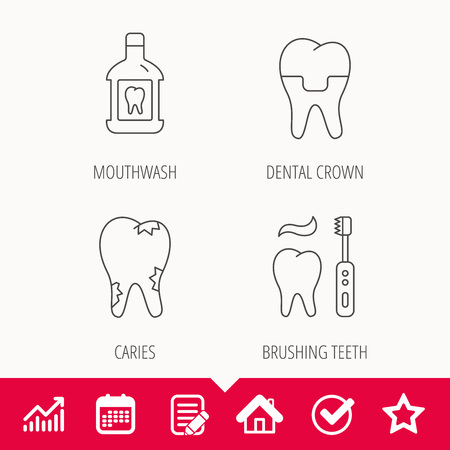 Caries, dental crown and mouthwash icons. Brushing teeth linear sign. Edit document, Calendar and Graph chart signs. Star, Check and House web icons. Vector