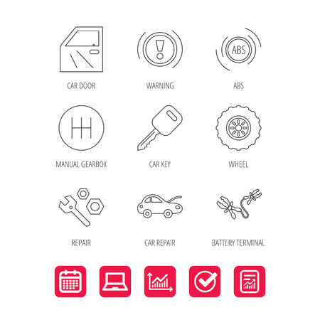 Car key, repair tools and manual gearbox icons. Wheel, warning ABS and battery terminal linear signs. Report document, Graph chart and Calendar signs. Laptop and Check web icons. Vector Illustration