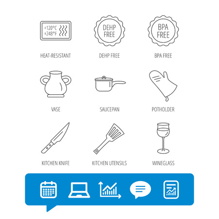 Saucepan, potholder and wineglass icons. Kitchen knife, utensils and vase linear signs. Heat-resistant, BPA, DEHP free icons. Report file, Graph chart and Chat speech bubble signs. Vector Illustration