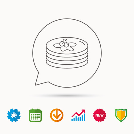 Pancakes icon. American breakfast sign. Food with maple syrup symbol. Calendar, Graph chart and Cogwheel signs. Download and Shield web icons. Vector Illustration