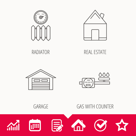 gas radiator: Real estate, garage and heat radiator icons. Gas counter linear sign. Edit document, Calendar and Graph chart signs. Star, Check and House web icons. Vector
