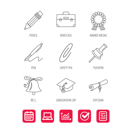 oath: Graduation cap, pencil and diploma icons. Award medal, briefcase and bell linear signs. Pen, safety pin icons. Report document, Graph chart and Calendar signs. Laptop and Check web icons. Vector