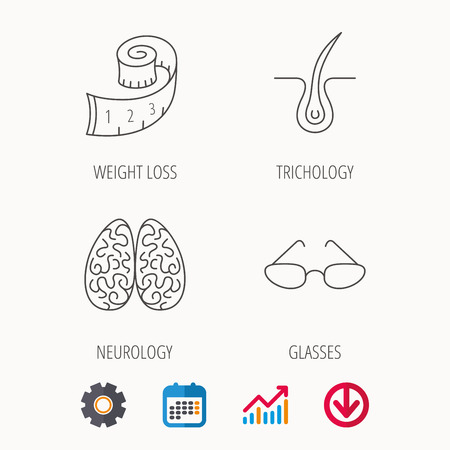 Glasses, neurology and trichology icons. Weight loss linear sign. Calendar, Graph chart and Cogwheel signs. Download colored web icon. Vector Illustration