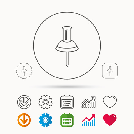tack: Pushpin icon. Pin tool sign. Office stationery symbol. Calendar, Graph chart and Cogwheel signs. Download and Heart love linear web icons. Vector Illustration