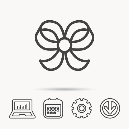 Bow icon. Gift bow-knot sign. Notebook, Calendar and Cogwheel signs. Download arrow web icon. Vector Illustration