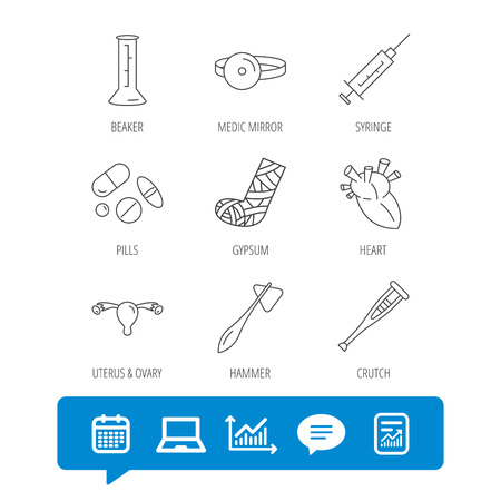 Syringe, beaker and pills icons. Crutch, medical hammer and mirror linear signs. Heart, broken leg and uterus ovary icons. Report file, Graph chart and Chat speech bubble signs. Vector