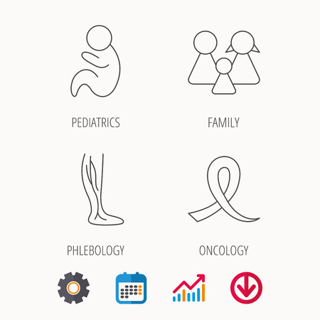 Family, pediatrics and phlebology icons. Oncology awareness ribbon linear sign. Calendar, Graph chart and Cogwheel signs. Download colored web icon. Vector Illustration