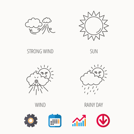 Weather, strong wind and rainy day icons. Sun linear sign. Calendar, Graph chart and Cogwheel signs. Download colored web icon. Vector