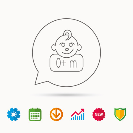 Baby face icon. Newborn child sign. Use of one months and plus symbol. Calendar, Graph chart and Cogwheel signs. Download and Shield web icons. Vector