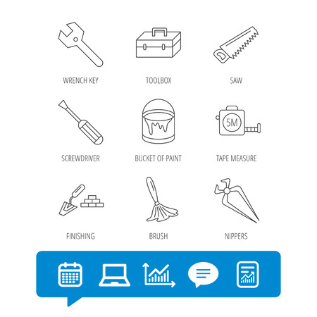 Wrench key, screwdriver and paint brush icons. Toolbox, nippers and saw linear signs. Finishing spatula icon. Report file, Graph chart and Chat speech bubble signs. Laptop and Calendar web icons Illustration