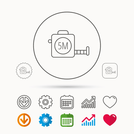 centimetre: Tape measurement icon. Roll ruler sign. Calendar, Graph chart and Cogwheel signs. Download and Heart love linear web icons. Vector Illustration