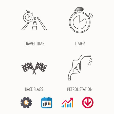 Race flags, travel timer and petrol station icons. Timer linear sign. Calendar, Graph chart and Cogwheel signs. Download colored web icon. Vector