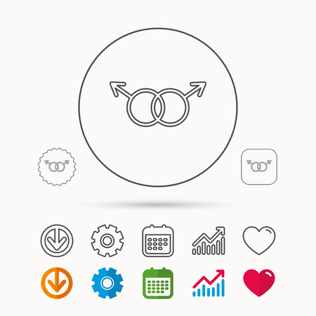 Gay couple icon. Homosexual sign. Calendar, Graph chart and Cogwheel signs. Download and Heart love linear web icons. Vector
